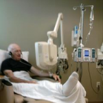 daddy watching TV during Chemo